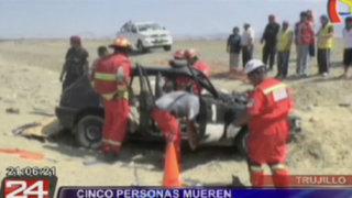 Trujillo: cinco muertos dejó aparatoso choque en la Panamericana Norte