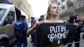 Hungría: activista de grupo Femen fue arrestada por protestar contra Vladimir Putin