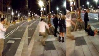 VIDEO: joven propinó brutal patada a una chica solo para que lo grabaran