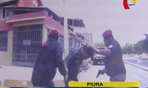 Cámara de patrullero registró persecución y captura de presunto delincuente en Piura