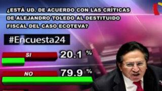 Encuesta 24: 79.9% en desacuerdo con palabras de Toledo sobre fiscal de caso Ecoteva