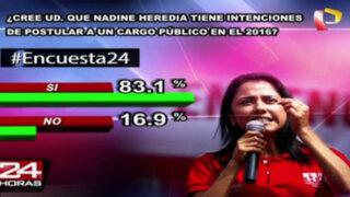 Encuesta 24: 83.1% cree que Nadine Heredia tiene intención de postular en el 2016