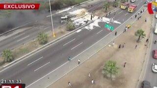 Imágenes aéreas de incendio y caos vehicular en la Panamericana Sur