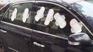 FOTOS: joven celosa puso toallas higiénicas alrededor del auto de su novio