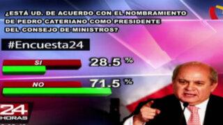 Encuesta 24: 71.5% no está de acuerdo con nombramiento de Pedro Cateriano