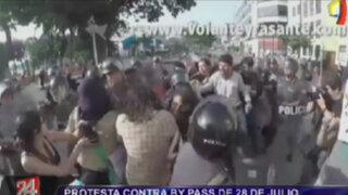 Protesta contra bypass de 28 de Julio termina en enfrentamiento con policías