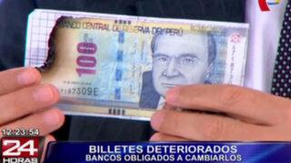 BCR: todos los bancos están obligados a cambiar billetes rotos o quemados