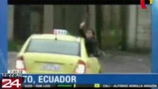 VIDEO: taxi con chofer y pasajeros dentro es arrastrado tras desborde de río