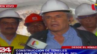 Rímac: túneles San Martín y Santa Rosa estarían listos en enero