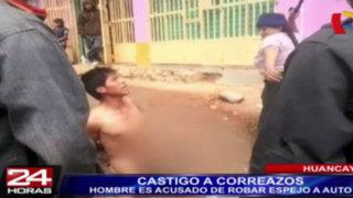 Huancayo: castigan a correazos a ladrón por robar espejo de auto