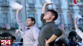 Vicepresidenta Marisol Espinoza participa en flashmob de Marinera en Italia