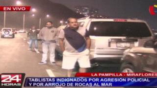 La Pampilla: tablistas bloquean paso de camiones de la municipalidad