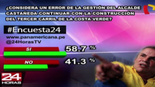 Encuesta 24: 58.7% considera error que Castañeda continuara tercer carril de Costa Verde