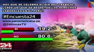 Encuesta 24: 80.8% cree que no se respetan derechos laborales en Perú