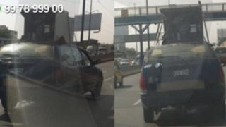 WhatsApp: vehículo traslada cocina en el techo por la vía Evitamiento