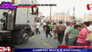Cercado de Lima: anciano muere atropellado por camión