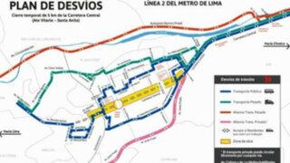 Mañana se inician desvíos por obras de Línea 2 del Metro de Lima