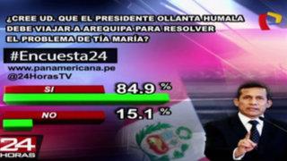 Encuesta 24: 84.9% cree que Ollanta Humala debe viajar a Arequipa