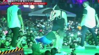 Sandra Arana sufrió aparatosa caída durante concierto 'All Music Fest 2015'