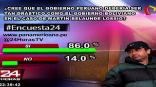 Encuesta 24: 86% cree que el gobierno debería ser tan drástico como Bolivia en caso Belaunde