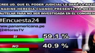 Encuesta 24: 59.1% cree que Poder Judicial dará razón a medida cautelar de Nadine Heredia