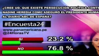 Encuesta 24: 76.8% no cree que exista persecución política contra Nadine Heredia