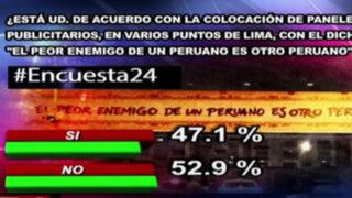 Encuesta 24: 52.9% en desacuerdo con misteriosos carteles publicitarios en Lima