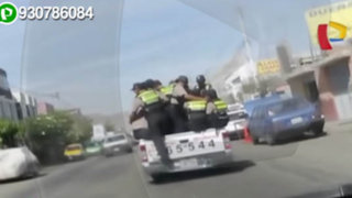 WhatsApp: más de 10 policías viajan en la tolva de una camioneta en Arequipa