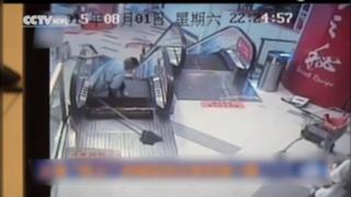 China: sujeto perdió la pierna tras falla en escalera eléctrica en Shanghai