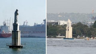 Colombia: rayo impacta estatua de la Virgen del Carmen y arroja imagen al mar