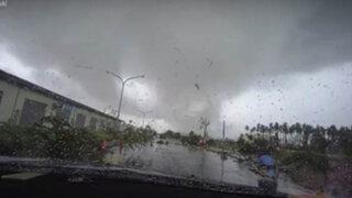 "Impactantes imágenes: tornado se ""tragó"" un automóvil en Taiwán"
