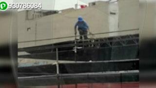 WhatsApp: obrero trabaja sin medidas de seguridad en municipio de Jesús María