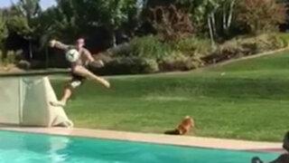 VIDEO: Gareth Bale sorprende con espectacular 'tijera' en una piscina