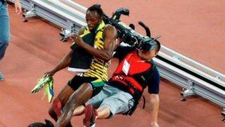 Usain Bolt es atropellado por camarógrafo tras competencia en China
