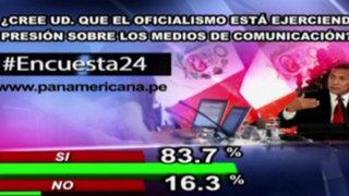 Encuesta 24: 83.7% cree que oficialismo presiona a los medios