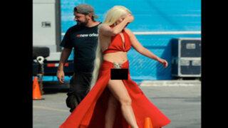FOTOS: Lady Gaga mostró más de la cuenta durante la grabación de una serie