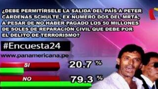 Encuesta 24: 79.3% considera que Peter Cárdenas no debe salir del país