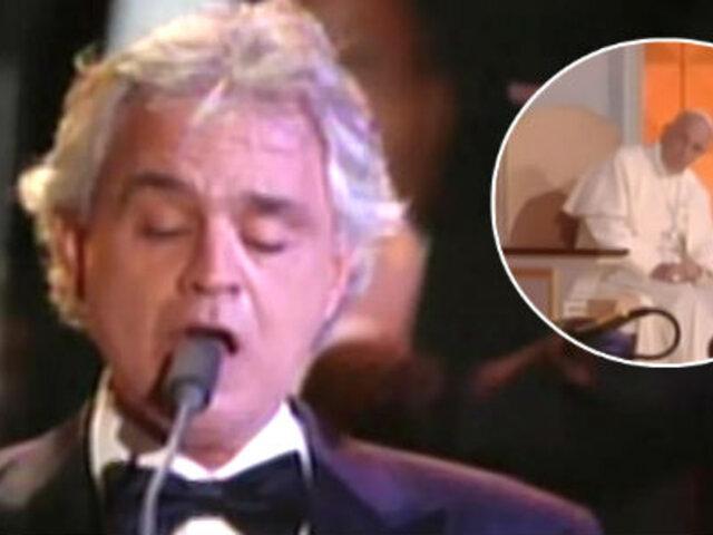 Tenor Andrea Bocelli le cantó al papa Francisco junto a otros artistas en Filadelfia