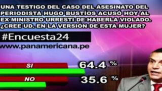 Encuesta 24: 64.4% cree en acusación de violación contra Daniel Urresti