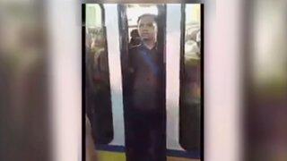 Puerta de tren eléctrico casi aplasta los genitales de un hombre en Filipinas