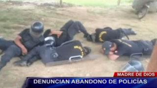 Madre de Dios: policías duermen en el suelo y a la intemperie