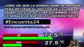 Encuesta 24: 72.5% cree que Sunedu debe intervenir para retirar a Cotillo