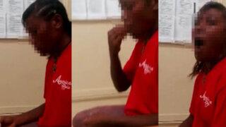 VIDEO: policía obliga a una joven a comerse dos condones