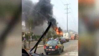 San Luis: camión de carga se incendió a causa de artefacto pirotécnico