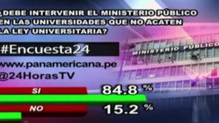 Encuesta 24: 84.8% cree que fiscalía debe intervenir en universidades 'rebeldes'