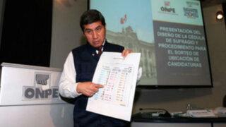 ONPE presenta cédulas de votación para elecciones generales