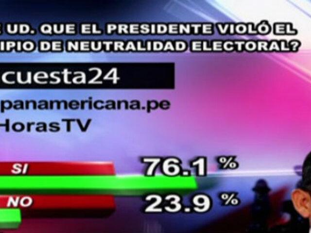 Encuesta 24: 76.1% cree que Ollanta Humala violó principio de neutralidad