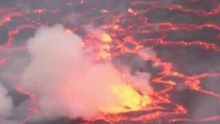 Congo: hombre registra impresionantes imágenes de volcán activo