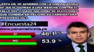 Encuesta 24: 46.1% cree que candidatura de Guzmán estaría en peligro por posible marcha contra el JNE