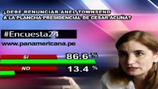 Encuesta 24: 86.6 % cree que Anel Townsend debe renunciar a la plancha residencial de Acuña
